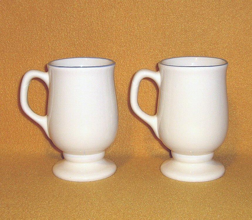 Pfaltzgraff Hopscotch 2 Grand Mugs Footed - Peach