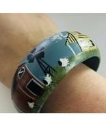 "Wood Bangle Bracelet Hand-painted Blue Americana Scene  1 1/2"" Wide J6963 - $14.24"