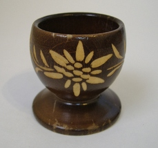 Carved Wood Egg Cup Floral Vintage Swiss Brown Footed Collectible Flower... - $20.00