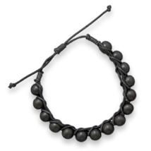W2163 adjustable wood bead macrame bracelet thumb200