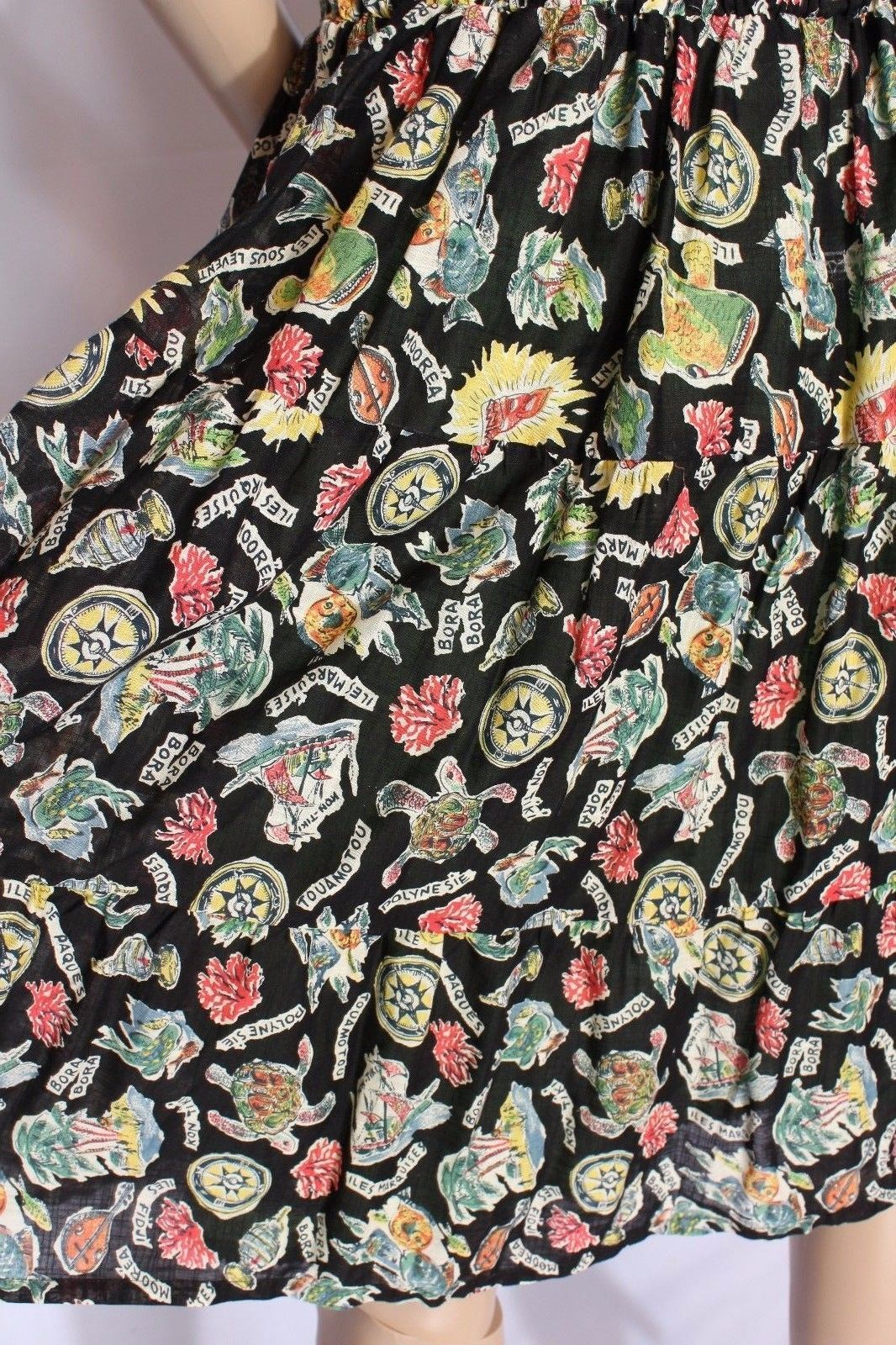 Rare Maeve Anthropologie Vacation French Isles Fish Turtle Bora Bora Print Dress