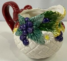 Fitz And Floyd Creamer White Berry Patch Basket Ceramic Pitcher 1995 Vintage - $14.84