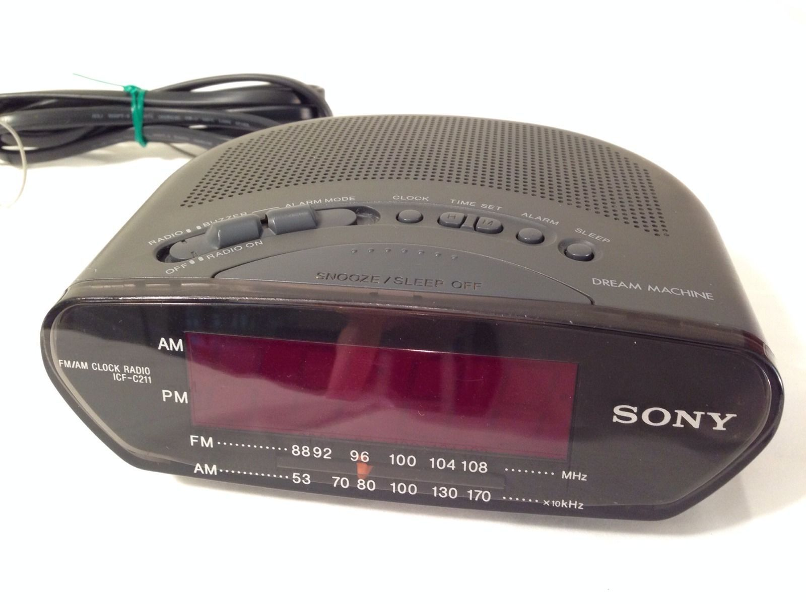 Big Display Sony Dream Machine ICF-C211 AM/FM Alarm Clock Radio Red Digital