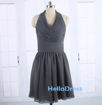 Short Halter Open Back Charcoal Grey Chiffon Bridesmaid Formal Gown Dres... - $78.00