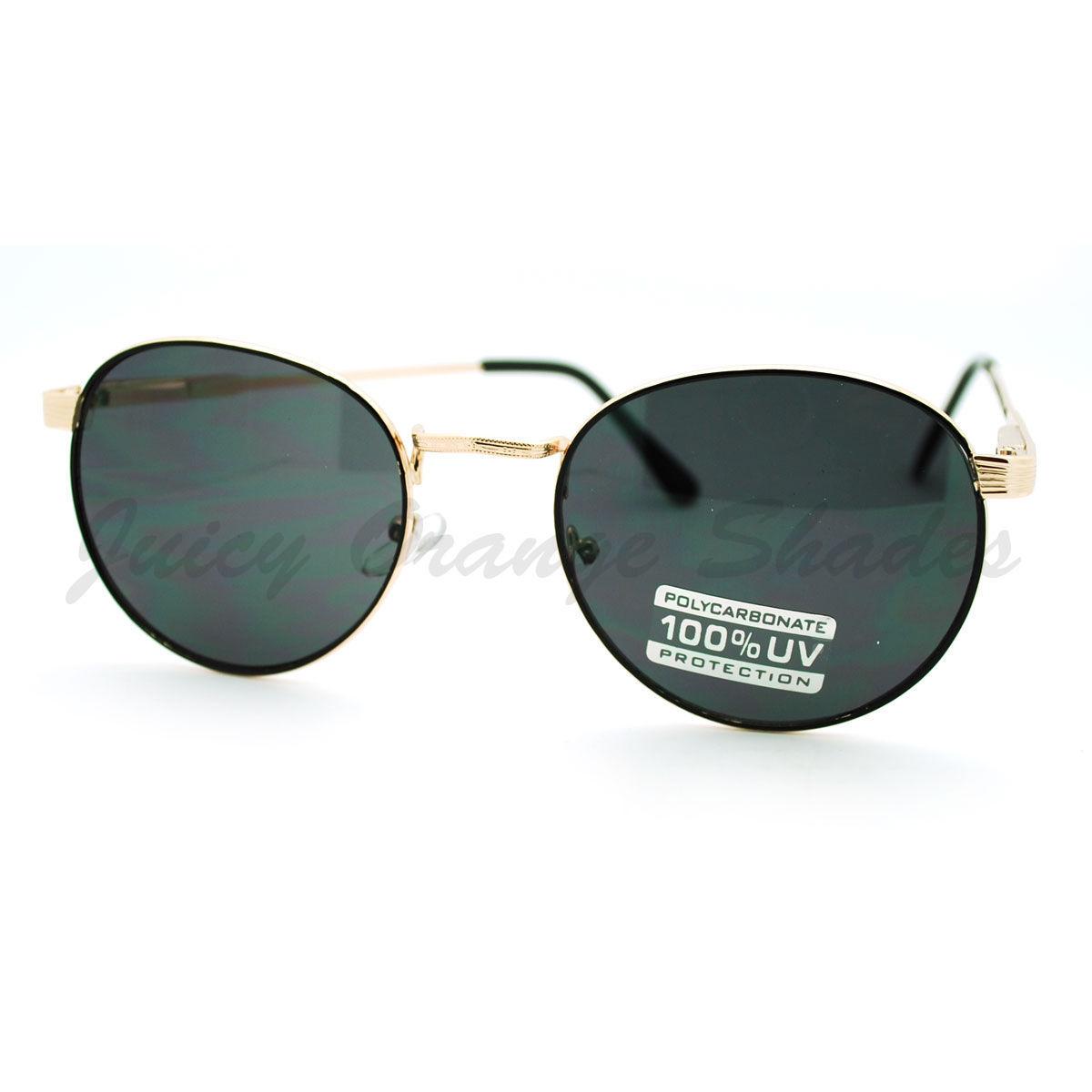 Petite Round Sunglasses Thin Metal Frame Vintage Fashion