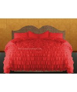 LinensnCurtains Waterfall Ruffle RED Bedspread Set 3pc - $169.00+