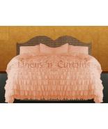 LinensnCurtains Waterfall Ruffle PEACH Bedspread Set 3pc - $169.00+