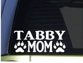 Tabby Mom sticker *H293* 8.5 inch wide vinyl cat kitten litter box - $3.19