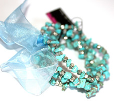 Womens Ladies Blue Turquoise Silver Bow Layered Beaded Stretch Bracelet ... - $6.71