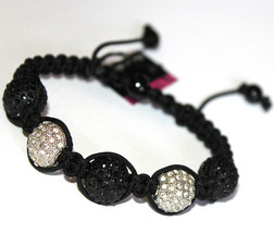 14mm Macramae Black White Beaded Crystal Sphere Dressy Adjustable Bracelet - $13.46