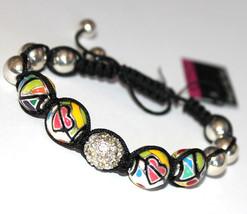 Silver Macramae Black White Bead Crystal Sphere Heart Multicolor Enamel ... - $13.46