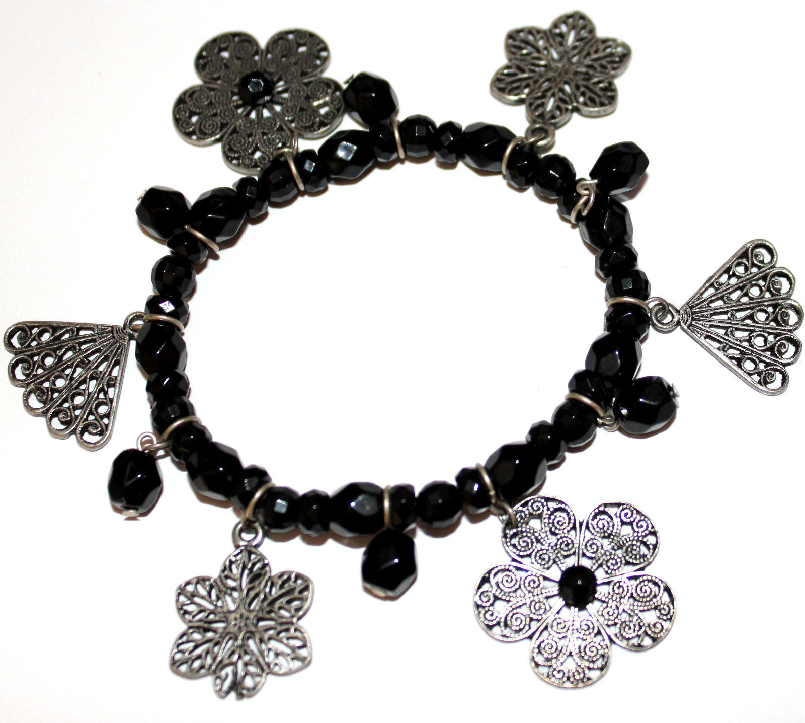 Primary image for Ladies Black Acrylic Beaded Fan Vintage Flower Floral Filigree Stretch Bracelet