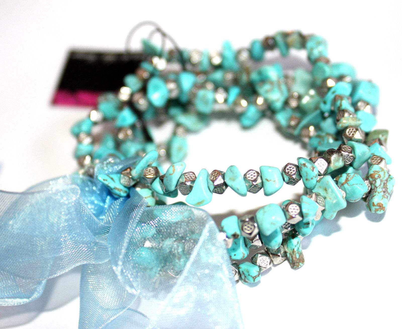 Womens Ladies Blue Turquoise Silver Bow Layered Beaded Stretch Bracelet Set of 4