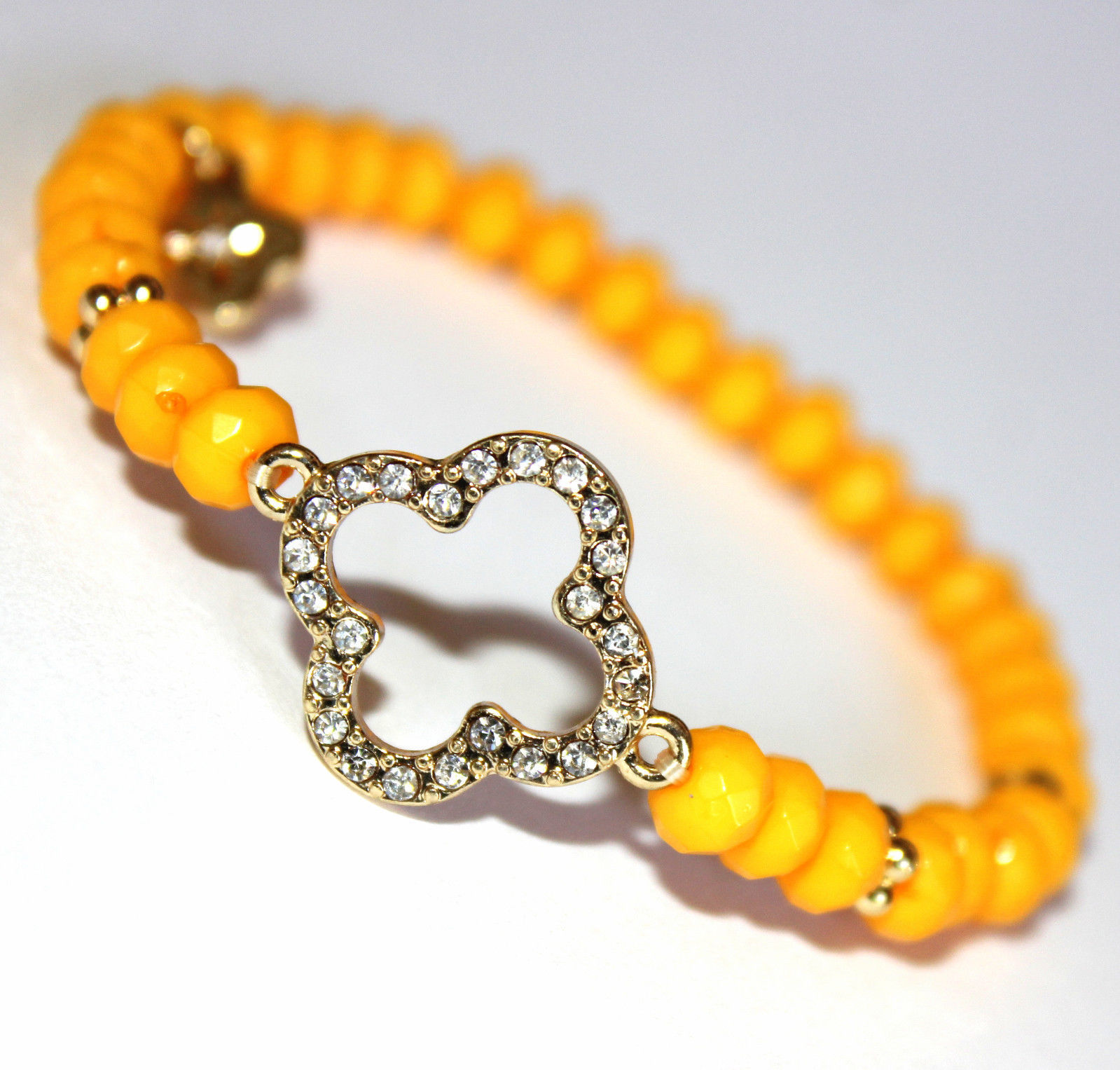 Primary image for Womens Ladies Acrylic Beaded Clover Goldtone Crystal Tangerine Stretch Bracelet