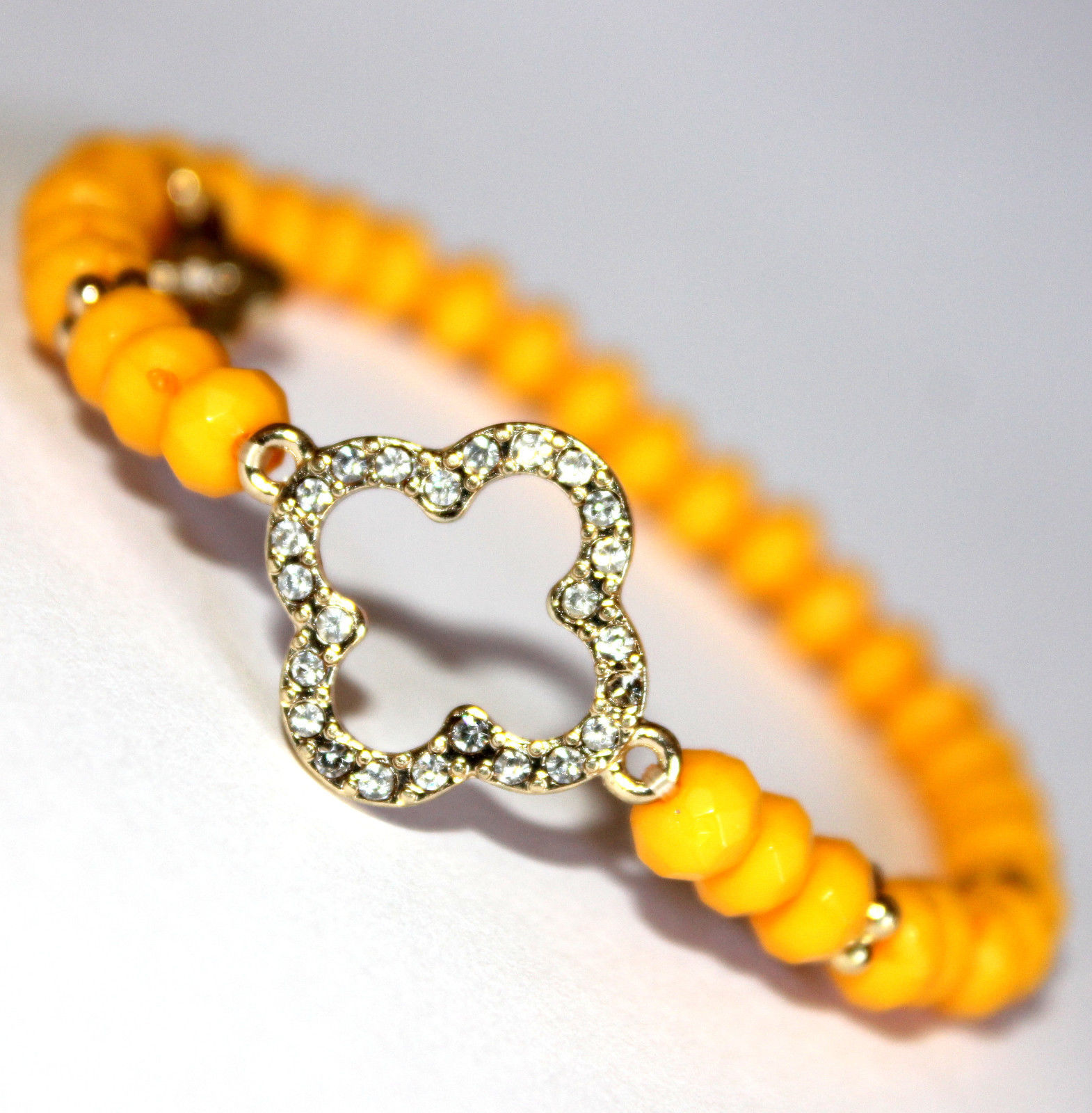 Womens Ladies Acrylic Beaded Clover Goldtone Crystal Tangerine Stretch Bracelet