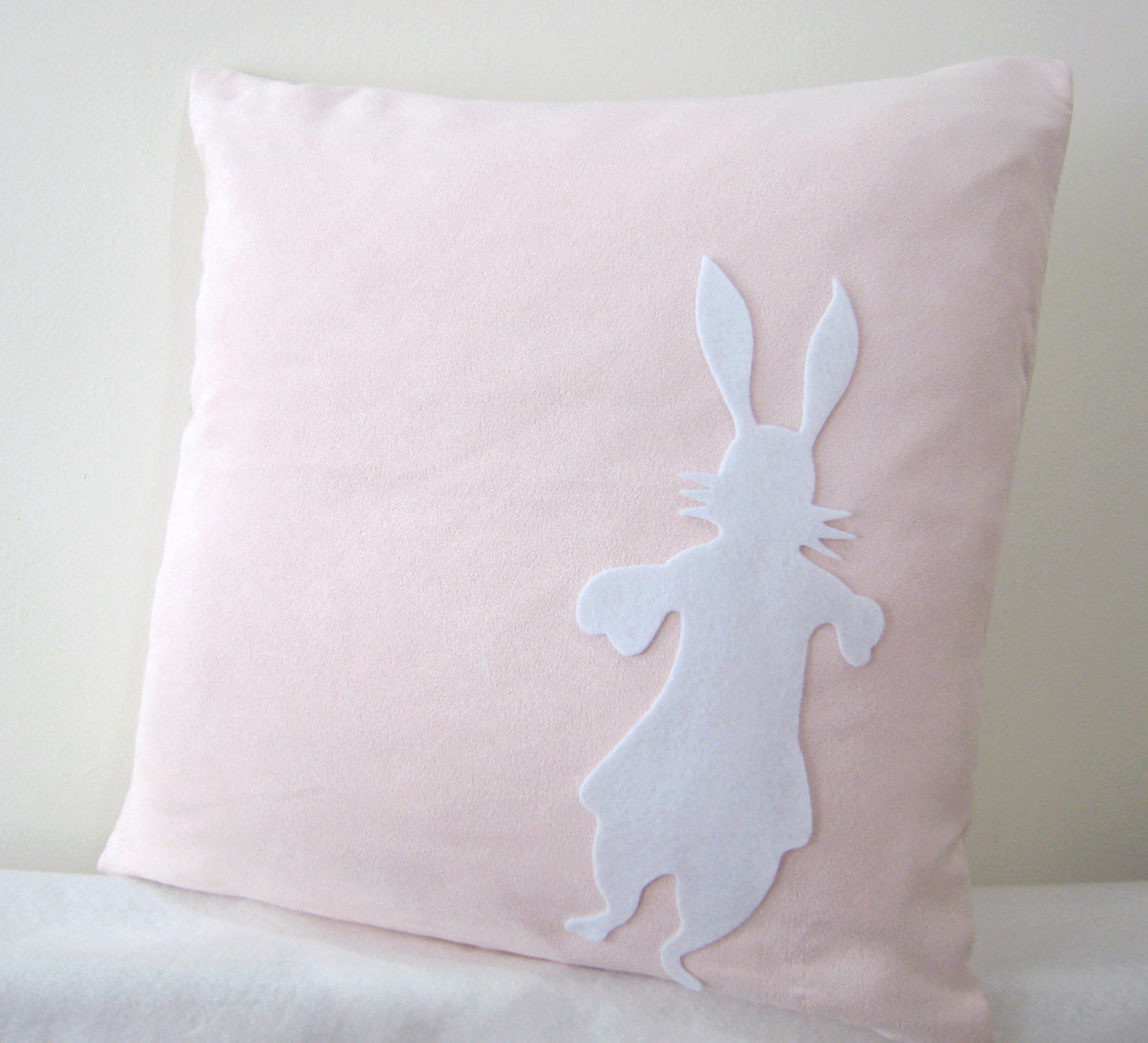 Alice And Rabbit In Wonderland. Light Pink and White Pillow Covers. Set Of Two