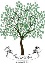 Thumbprint Tree: Wedding, Guest Book Alternative, Personalized, Family Tree - $12.00