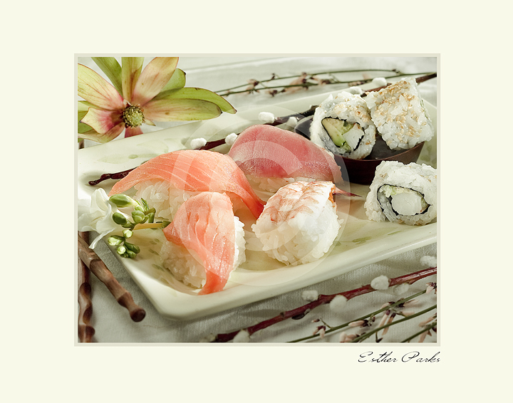 'Sushi' (Sushi plate w/ flowers) Fine Art Print - 8x10 print matted to11x14