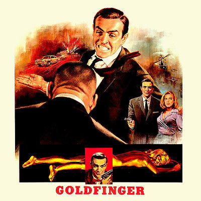 Goldfinger T shirt Bond 007 retro 70's 80's spy movie 100% cotton graphic tee