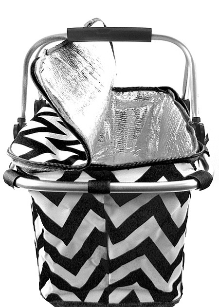 BLACK CHEVRON ZIG ZAG PRINT CANVAS INSULATED MARKET/PICNIC BASKET/TOTE!