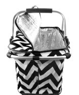 BLACK CHEVRON ZIG ZAG PRINT CANVAS INSULATED MARKET/PICNIC BASKET/TOTE! - £20.41 GBP