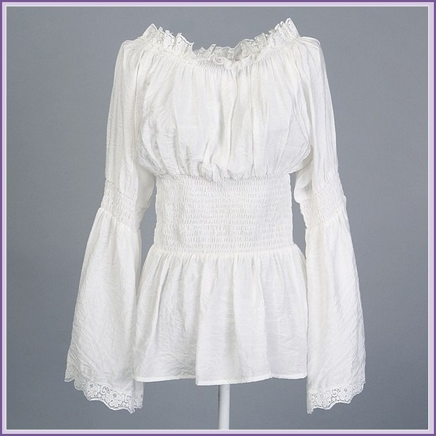Vintage Damsels Peasant White Long Sleeved Lace Edged Gothic Punk Cotton Blouse