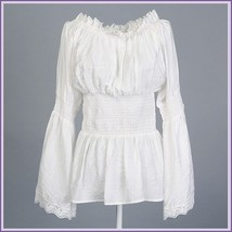 Vintage Damsels Peasant White Long Sleeved Lace Edged Gothic Punk Cotton... - $79.95