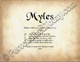 Myles Hidden Within Your Name Is A Special Story Letter Poem  8.5 x 11 P... - $8.95