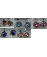 Earrings hoops clear Cubic Zirconia Solitaires  pink blue amber elegant - $12.75