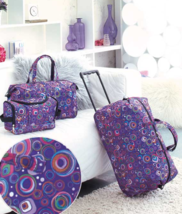 3 Piece Luggage Sets Wheeled Duffel Bag Travel Tote Bag Trendy Circles P... - $29.69