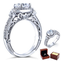 2 Ct Lab Diamond Vintage Bridal Wedding Engagement Ring Fine 925 Sterling Silver - $119.99