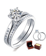 1 Ct Round Diamond Sterling 925 Silver 2-Pc Bridal Wedding Engagement Ri... - $129.99