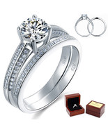 1 Ct Round Diamond Sterling 925 Silver Bridal Wedding Engagement 2-Pc Ri... - $119.99