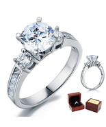 3-Stone Wedding Affordable Engagement Ring 2 Ct Lab Diamond 925 Sterling... - $99.99