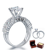1.5 Ct Princess Cut Diamond Sterling 925 Silver 2-pc Bridal Engagement R... - $139.99