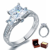 3-Stone 1.5 Ct Princess Diamond Vintage Sterling Silver Bridal Engagement Ring - $99.99