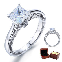 1.5 Ct Princess Diamond Vintage Style Sterling 925 Silver Bridal Engagem... - $99.99