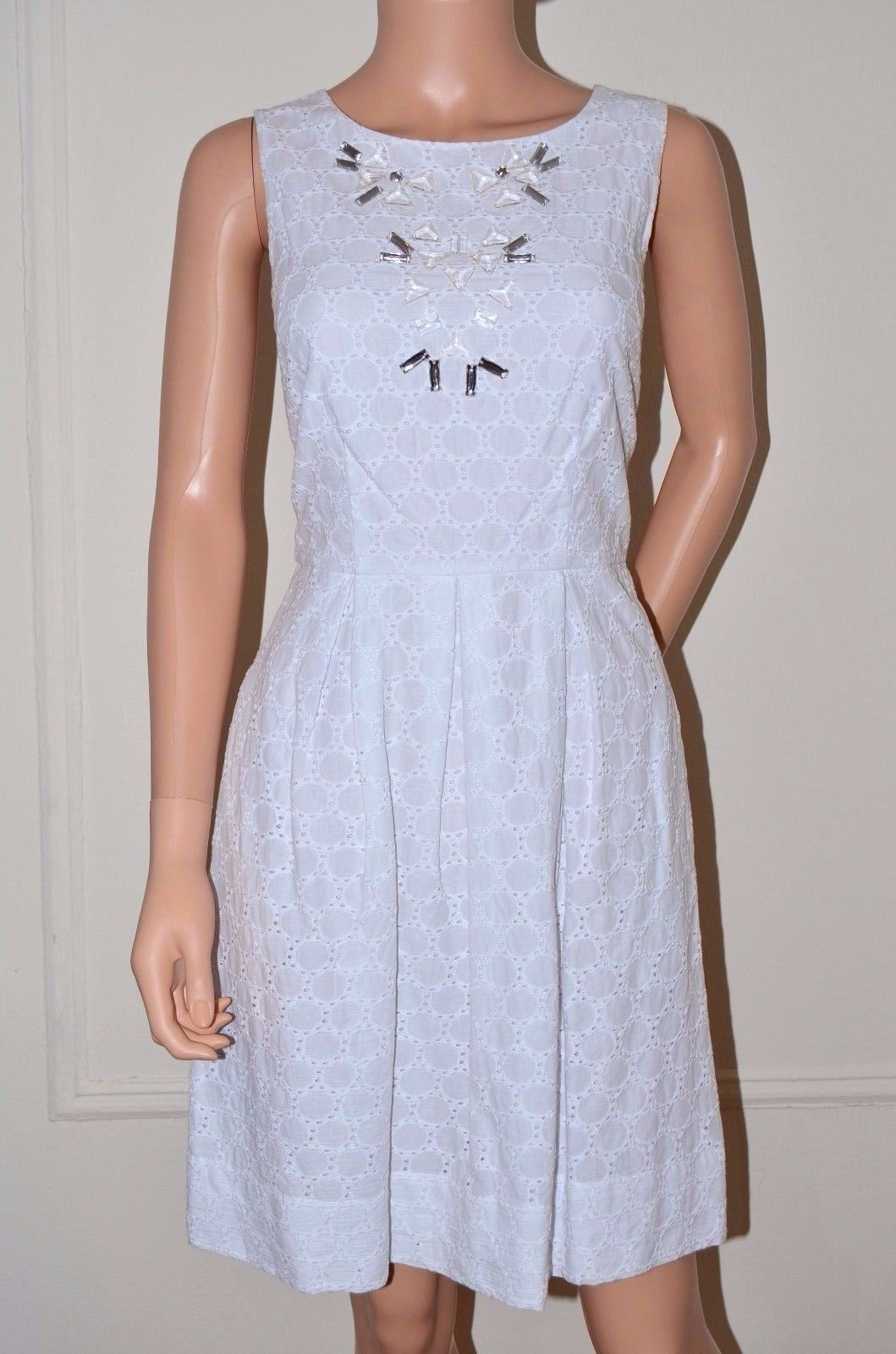 Miss Sixty M60 $128 Eyelet Embroidered Dress White size 6 Medium M NEW O