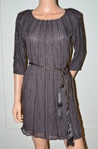 GOLD HAWK Silk Brown Beaded Evening Party Occasion Dress sz Small S - $74.56
