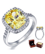 Fine 925 Sterling Silver Wedding Anniversary Ring 6 Ct Yellow Canary Lab... - $105.99