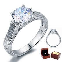 2 Carat Round Diamond Vintage Sterling 925 Silver Bridal Wedding Engagem... - $89.99