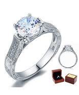 2 Carat Round Diamond Vintage Sterling 925 Silver Bridal Wedding Engagem... - $89.99