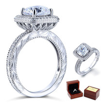 3 Ct Cushion Cut Lab Diamond Vintage Sterling 925 Silver Wedding Engagement Ring - $109.99