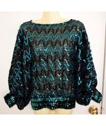 Vintage 1970 s Green Sequin Evening Party Night Club Top Blouse Tunic Sm... - $27.81