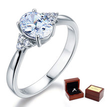 Affordable Sterling 925 Silver Wedding / Promise Ring 1.5 Ct Oval Lab Di... - $69.99