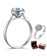 925 Sterling Silver Halo Promise / Engagement Ring 1 Ct Lab Diamond Subs... - $89.99