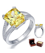 6 Carat Yellow Canary Diamond Wedding Anniversary Ring Fine 925 Sterling... - $105.99
