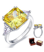 Sterling 925 Silver Wedding Anniversary Ring 8 Ct Princess Yellow Canary... - $115.99