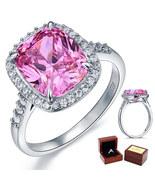 925 Sterling Silver 6 Carat Pink Lab Diamond Halo Ring for Wedding Anniv... - $105.99