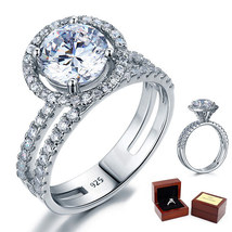 2 Carat Round Diamond Sterling 925 Silver Bridal Wedding Engagement Halo Ring - $109.99